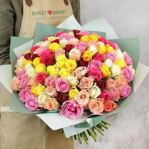 БУКЕТ ИЗ 101 РАЗНОЦВЕТНЫХ КЕНИЙСКИХ РОЗ: букеты цветов на заказ Flowwow