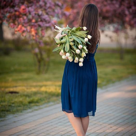 Букет из 15 белых тюльпанов: букеты цветов на заказ Flowwow