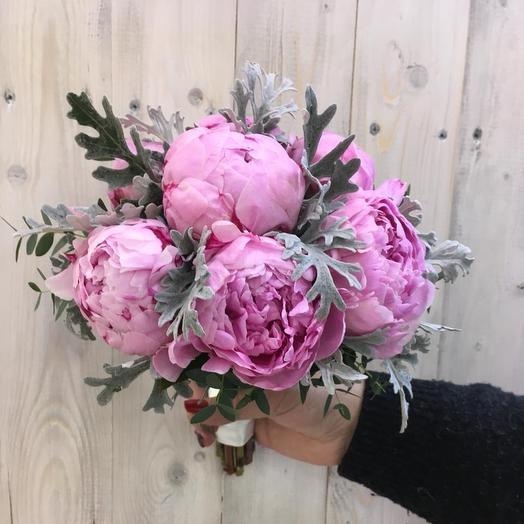 Свадебный букет: Зефирные пионы: букеты цветов на заказ Flowwow