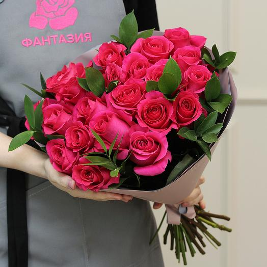 21 малиновая роза 50 см (Эквадор) premium