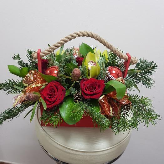 Новогодняя корзина с орхидеей: букеты цветов на заказ Flowwow