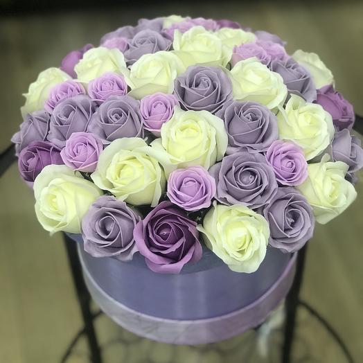 Композиция «Нежность» в шляпной коробке: букеты цветов на заказ Flowwow