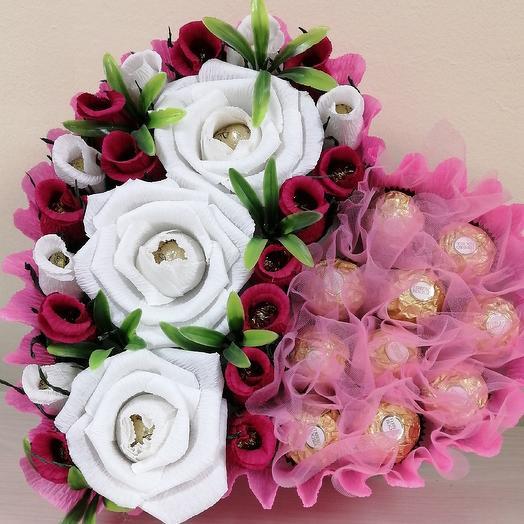 Сердце конфетное: букеты цветов на заказ Flowwow