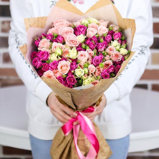 Букет из 25 веточек кустовой розы (микс). N725: букеты цветов на заказ Flowwow