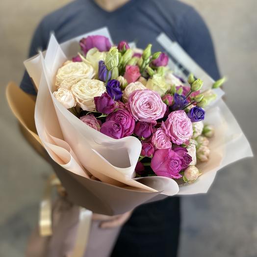 Пионовидные Розы и эустома