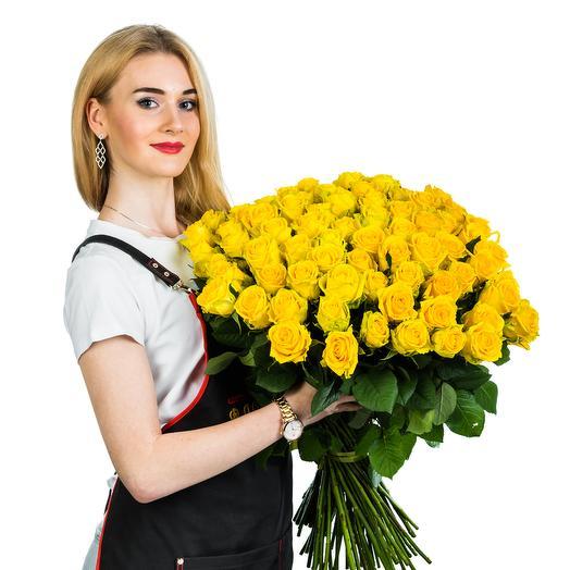101 желтая роза: букеты цветов на заказ Flowwow