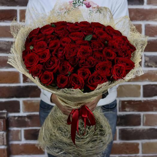 Букет из  51 розы ( 70 см ) Красная N186