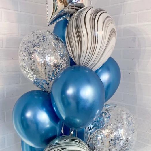 Мрамор в синем и серебре