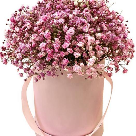 Коробка Шляпная с Розовой Гипсофилой