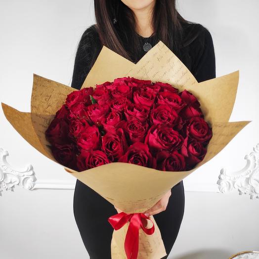 Букет из 35 красных роз(коробка конфет в подарок, условие в описании)
