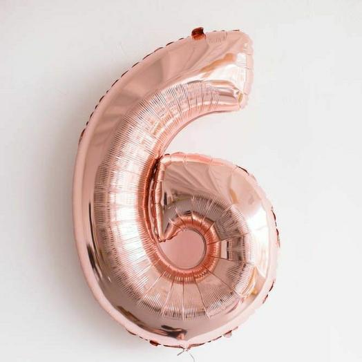 """Фольгированная цифра 6""""Розовое-золото"""""""