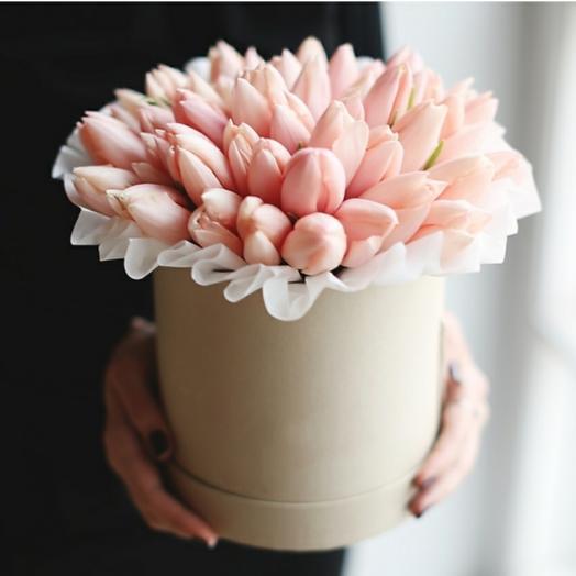 """Коробка""""39 нежно-розовых тюльпанов"""""""