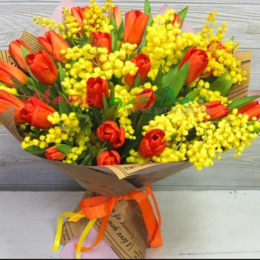 Большой весенний букет - Тюльпаны и мимозы