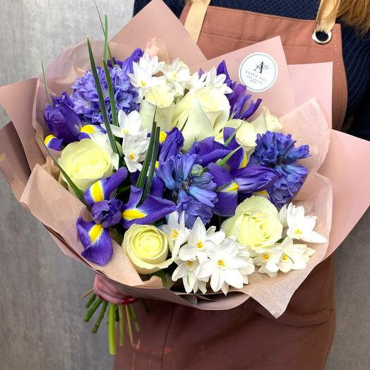 Author's bouquet with irises and hyacinths