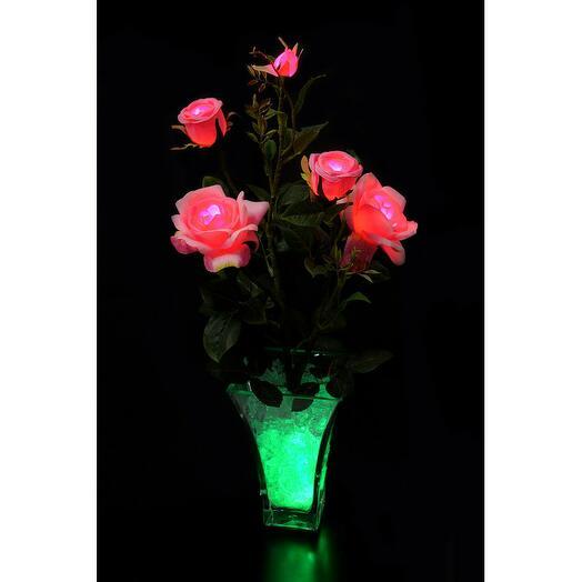 Светодиодные цветы Розы Розовые (зел) 5 цветка