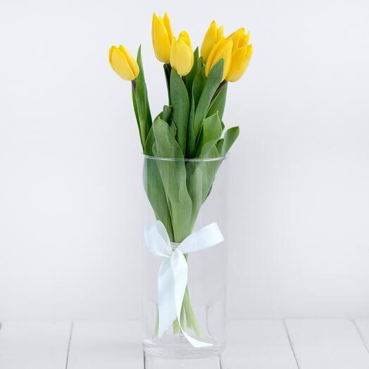 Букет 7 желтых тюльпанов (без упаковки)
