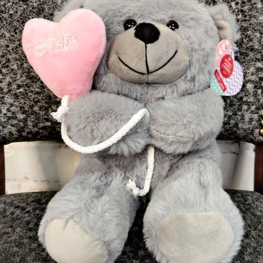 Мишка с сердцем (серый)