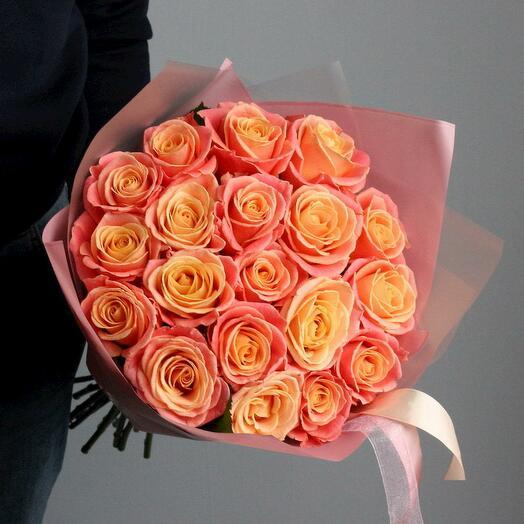 """21 Роза  """"Мисс Пигги """" в Дизайнерской пленке"""