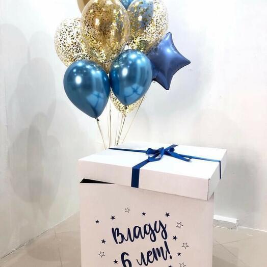 Шары в коробке на День Рождения 8