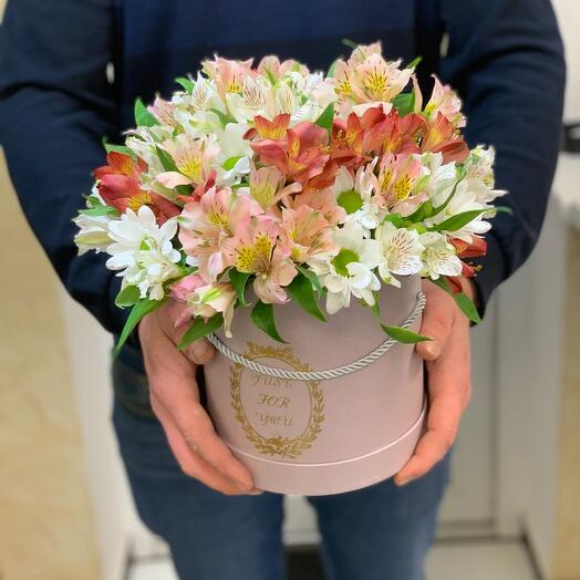 Alstroemeria and Chrysanthemums in a box