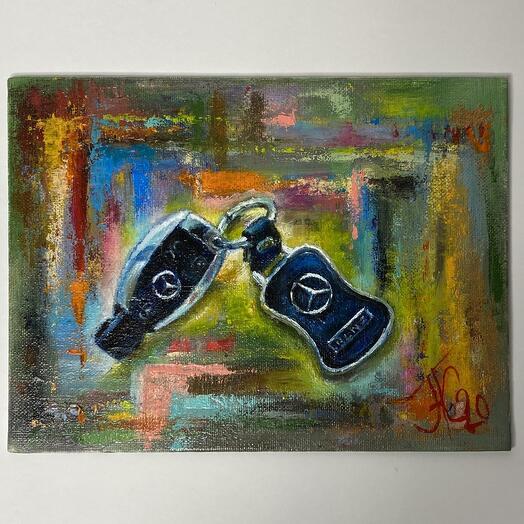 """Картина """"Ключи от Мерса"""" 24*18 см. масло, холст"""