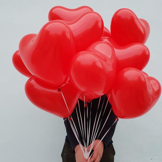 """Связка 10 шаров """"Сердца красные"""""""