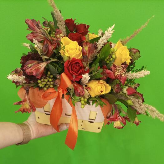 """Цветы в коробке """"Осенний мотив"""""""