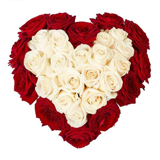 Сердце из белых и красных роз: букеты цветов на заказ Flowwow