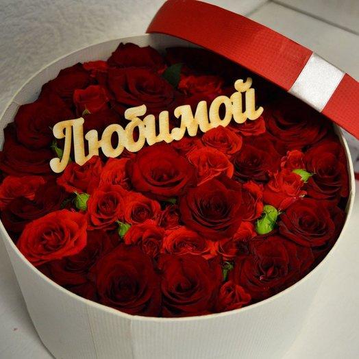 Коробка шляпная с розами: букеты цветов на заказ Flowwow