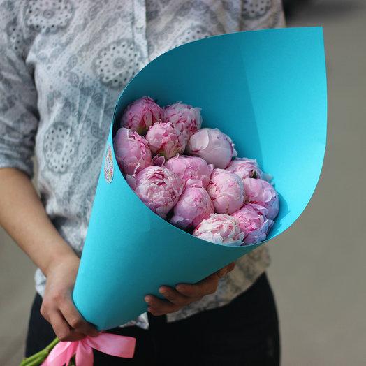 13 pink peonies in a designer paper