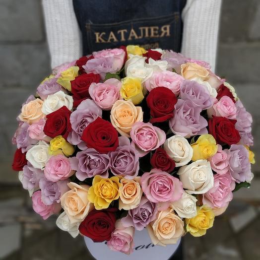 Коробочка радужных роз: букеты цветов на заказ Flowwow