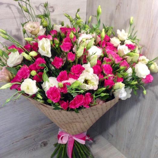РОЗЫ с ЭСТОМОЙ 3: букеты цветов на заказ Flowwow