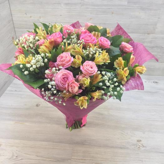 Букет из роз и альстромерий: букеты цветов на заказ Flowwow