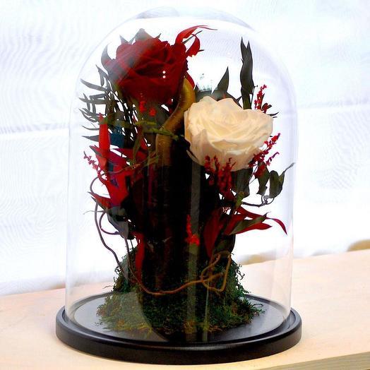 КОМПОЗИЦИЯ «КРАСАВИЦА И ЧУДОВИЩЕ» - БУТОНЫ РОЗ, МОХ И ДЕКОР: букеты цветов на заказ Flowwow