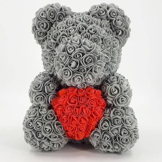 Мишка из роз 40 см с сердцем