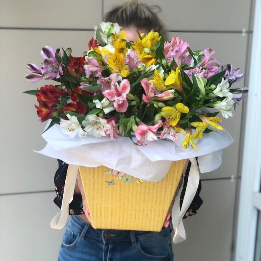 Ведро альстромерии: букеты цветов на заказ Flowwow
