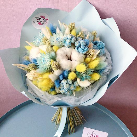 """7 """"Лимонный и бирюза"""" (M): букеты цветов на заказ Flowwow"""
