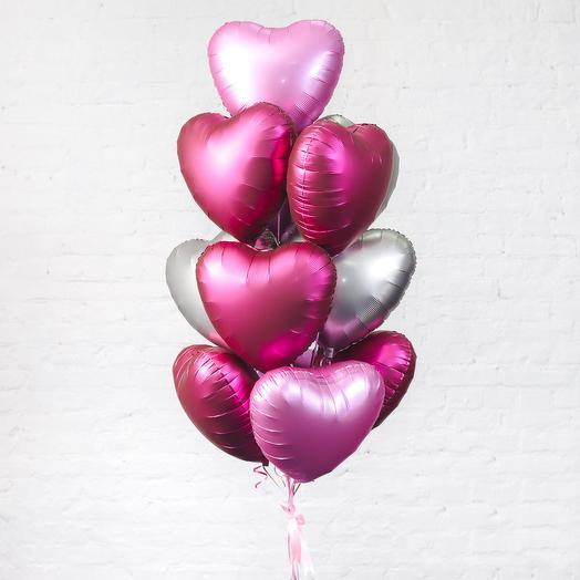 Фонтан из 11 фольгированных шаров
