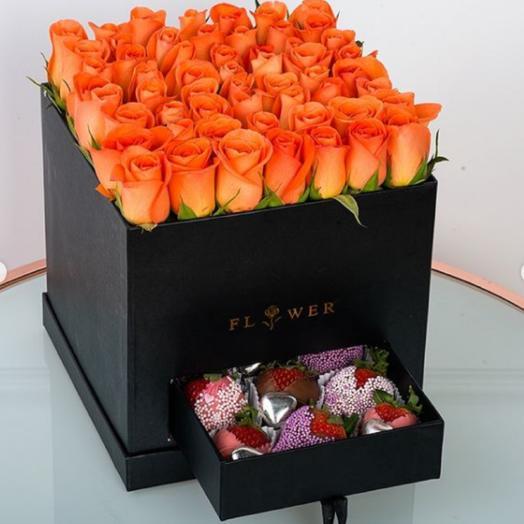 Чёрная коробка с секретом: букеты цветов на заказ Flowwow