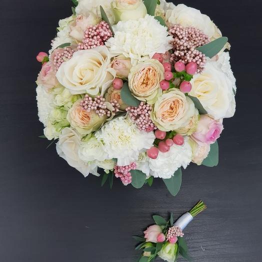 Свадебный букет в розовых оттенках