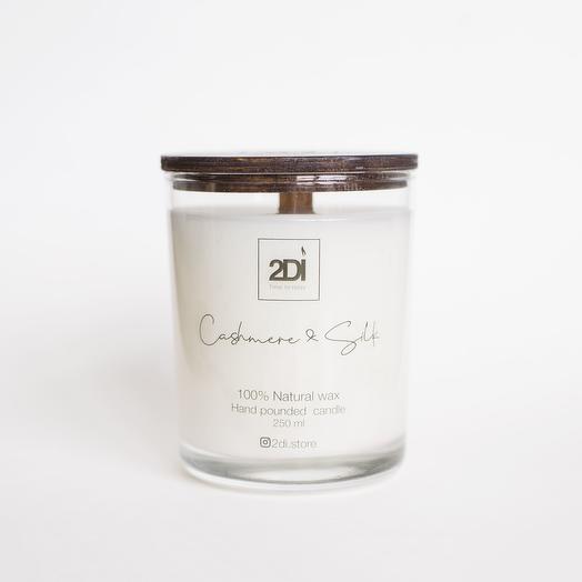 Натуральная аромасвеча ручной работы 250 мл, хлопковый фитиль - Cashmere   Silk, Кашемир и шелк