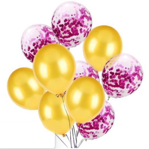 Цветные латексные шары воздушные шары с конфетти фуксия