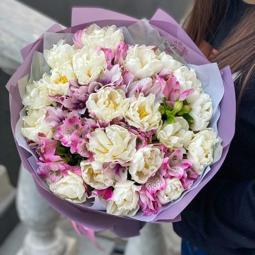 Bouquet MiX of peony tulips and alstroemeria