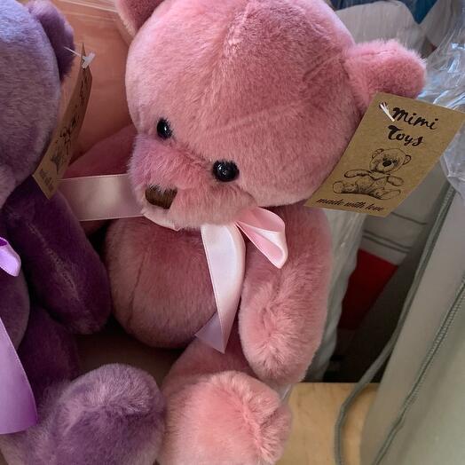 «Мишка с бантом» розовый