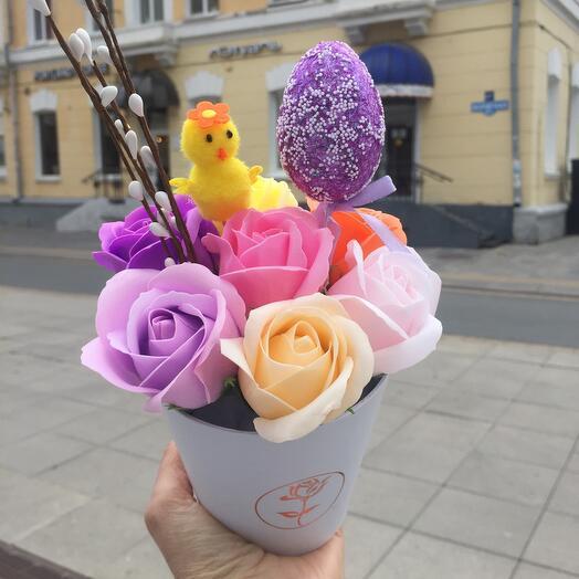 Букет Пасха из мыльных роз