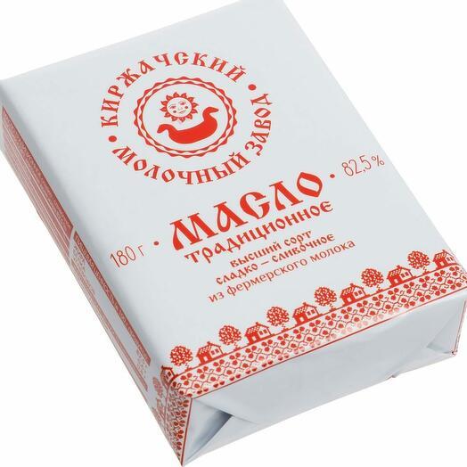 Масло Традиционное сладко-сливочное 82,5% 180 гр