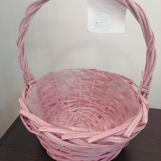 Корзина ива круглая розовая D 24,5 см