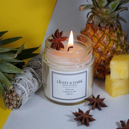 Ароматическая соевая свеча «Miracle | ананас, шалфей, анис» с хлопковым фитилем + длинные спички, 200мл