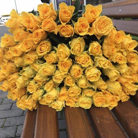 71 высокая желтая роза