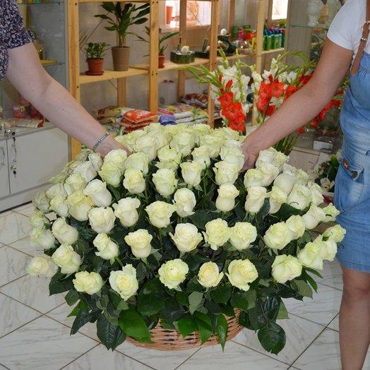 101 белая роза в корзине: букеты цветов на заказ Flowwow